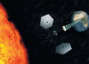 Solar satellite beaming down microwave power